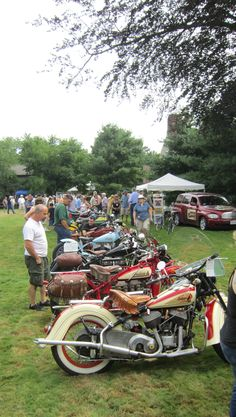 Classic Indians lined up on the North Lawn. – Indian Motocycle Day 2013