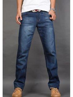 Casual Style Straight Leg Zipper Fly Baffi Embellished Denim Pants For Men 59ee9d2b3a9