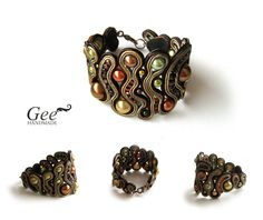 Soutache bracelet A gift from Autumn by geehandmade on Etsy Soutache Bracelet, Soutache Jewelry, Beaded Jewelry, Beaded Bracelets, Diy Jewelry, Handmade Jewelry, Jewelry Design, Jewelry Making, Jewellery