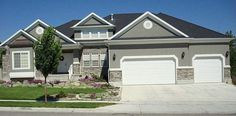Gray Stone Exterior | Gray Stucco with rock accent and white trim.: Rock Accent, Gray Stucco ...