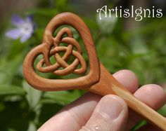 Triquetra Love Celtic Knot Alder Wood Hair Stick by ArtisIgnis