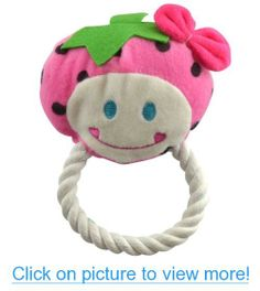 Dogloveit Pet Puppy Cat Dog Toys Fruit Series Strawberry Watermelon Pineapple Smile Face Braided Rope Cotton Toy for Pet Dog Cat with Sound Squeaker Squeaky Toys for Pet Dog Cat (Strawberry)