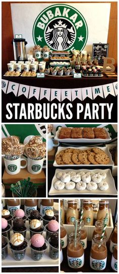 A Starbucks Coffee dessert bar with a coffee bar and Starbucks cake pops and a lot of desserts! See more party planning ideas at CatchMyParty.com!