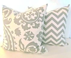 SET of 2 GREY PILLOWS 20x20 Decorative Throw by SayItWithPillows