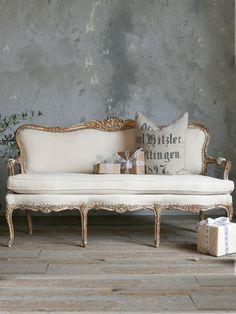 louis XV style sillon vintage con cojin