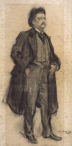 Portrait of Celestí Sadurní (Ramon Casas y Carbó - ) Amazing Drawings, Cool Drawings, Drawing Sketches, Sketching, Ramones, Modernisme, Fine Art Drawing, Visual Aids, Spanish Artists