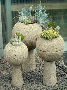 hypertufa planting spheres - these are fabulous! Will wants to have another hypertufa day! Concrete Garden, Concrete Planters, Unique Gardens, Amazing Gardens, Garden Crafts, Garden Projects, Jardin Decor, Pot Jardin, Cactus Y Suculentas