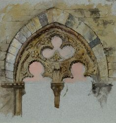John Ruskin - A Window of the Palazzo Tolomei, Siena, showing the rude and unsymmetrical Placing of massy Stones