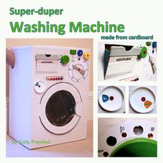 Washing machine made from a cardboard box. With dials made from bottle caps. It has a working door and detergent drawer. DIY toy cardboard box inspiration recycling kids playing activity packaging cake box plastic eco fun make joy Cardboard Box Crafts, Cardboard Crafts, Toy Washing Machine, Baby Bottle Storage, Diy Karton, Recycling For Kids, Recycled Crafts Kids, Diy For Girls, Kids Diy