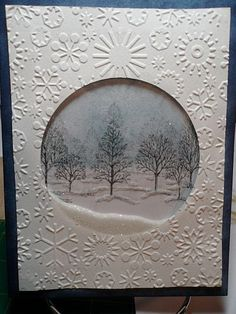Used the Cuttlebug embossing snowflake folder, Lovely as a tree stamp, and Tim… by delores