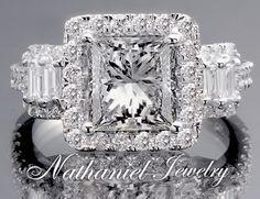 4 51 Carat Certified Diamond Princess Cut Bridal Engagement Ring White Gold 14k | eBay