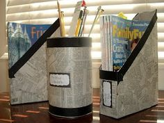 "What we like to call this craft is a ""two-fer""...Reusing old newspaper in addition to reusing cereal boxes or oatmeal containers <3~ #FB"