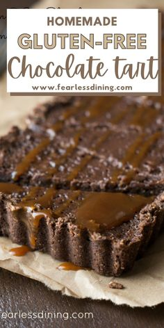 If you love chocolate, this delicious, rich chocolate tart is a great gluten free dessert recipe to try. A Chocolate crust filled with creamy chocolate custard. fearlessdining Chocolate Caramel Tart, Chocolate Custard, Chocolate Caramels, Gf Recipes, Gluten Free Recipes, Dessert Recipes, Gluten Free Chocolate Cake, Chocolate Desserts, Gluten Free Pie