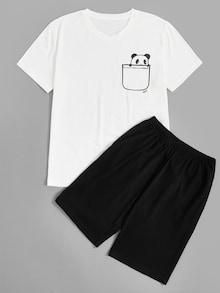 AdoreWe  SheIn -  SheIn Men Panda Print Top   Shorts PJ Set - AdoreWe.com f8f0b17a7