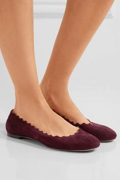 Chloé - Lauren Scalloped Suede Ballet Flats - Burgundy - IT37.5