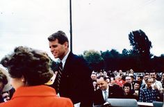 Robert Kennedy Greets Crowd at Campaign Stop in Sugar Creek, Missouri