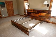 Reclaimed Platform Bed with Floating End Tables by MezWorks, $2495.00