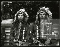 1896 Photo of two Sioux men at the Cincinnati Zoo, during the Sioux encampment of 1896, an attempt by the Cincinnati Zoo to illustrate life on the Plains with a living Native American village, Cincinnati, OH, 1896. (Photo by Enno Meyer/Cincinnati Museum Center/Getty Images)