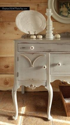 A gorgeous Queen Anne sideboard finished in Paris Grey Chalk Paint® decorative paint by Annie Sloan and Soft Wax   By Orphans with MakeUp by lynn.nickerson