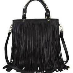 Tassel fringe leather shoulder/cross body bag Tassel fringe leather handbag/shoulder bag. Zipper to close. Synthetic leather. Inner pockets . Bag length 32cm width 12cm. Strap adjustable Bags Crossbody Bags