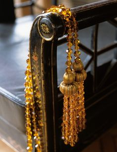 AMBER DOUBLE CRYSTAL TIEBACK Beautifully crafted showcasing exquisite silk work with a lavish crystal beaded cord and fringe detail