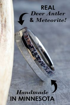 Combine your favorite awesome materials for your wedding band, like real deer antler and genuine meteorite. Browse our wide selection of custom wedding bands made from wood, dino bone, meteorite, deer antler, and more.