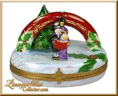 Christmas Carolers with Tree Limoges Box by Beauchamp. Christmas Boxes, Christmas Figurines, Christmas Carol, Rustic Christmas, White Christmas, Music Boxes, Pretty Box, Pill Boxes, Tiny Treasures
