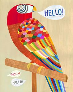 Hello Parrot 8x10 art print by twoems on Etsy