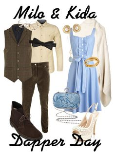 """Milo and Kida"" by totallytrue ❤ liked on Polyvore featuring LISKA, Boxfresh, River Island, Saks Fifth Avenue, Clarks, Hint of Gold, Faith, Susan Caplan Vintage, disney and disneybound"