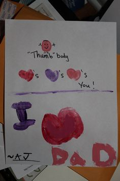 """A """"thumb"""" body Valentine for his dad....I have not dressed it all up cute, this is barely dry.~ce"""