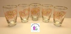 Vintage Retro Gold Floral Design On Pink Tumbler Glasses Set Of 5 in…