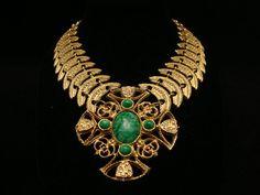 Vintage Huge Etruscan Gold Tone Faux Malachite by WMCROWNJEWELS, $125.00