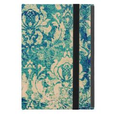 VIntage Green Blue Floral Damask iPad Mini Cover