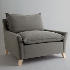Bliss Sofa from west elm in The Beachy Pad of Brooklyn's Lone Pro Surfer Living Room Seating, Living Room Chairs, Living Room Decor, Cheap Desk Chairs, Bag Chairs, Lounge Chairs, California Room, Modern Beach Decor, Recliner With Ottoman