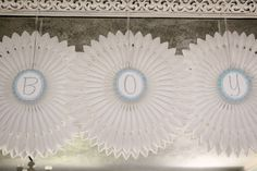 Abanicos de papel para un baby shower / Paper fans for a baby shower