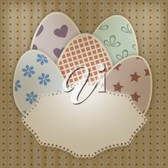 iCLIPART - Clip art illustration of a vector easter greeting card with retro eggs and a lacy napkin