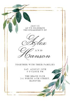 Double frame & leaves - Engagement Party Invitation #invitations #printable #diy #template #Engagement #party #wedding Dinner Party Invitations, Free Wedding Invitations, Engagement Party Invitations, Invites, Free Wedding Templates, Free Wedding Cards, Templates Free, Wedding Frames, Decor Wedding