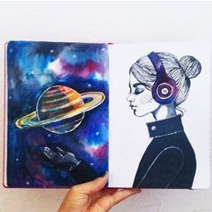 Listening to the sounds of the inspiration from the headphone girl Portrait Illustration, Illustration Sketches, Digital Illustration, Moleskine, Saturn Planet, Girl With Headphones, Cosmic Art, Wreck This Journal, Art Gallery
