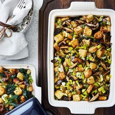 Focaccia Stuffing with Leeks and Wild Mushrooms | Williams-Sonoma
