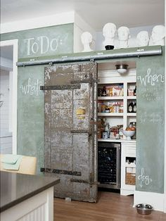 Love this door, chalkboard wall...and the label for the dog bowl!