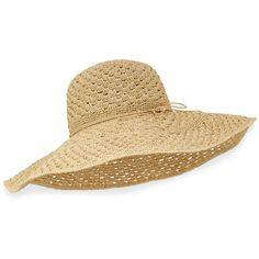 Helen Kaminski Jordyn Raffia Sun Hat (€100) ❤ liked on Polyvore featuring accessories, hats, natural, helen kaminski hats, round hat, brimmed hat, wide sun hat and crochet brim hat