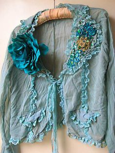 Ruffled Blue Blouse, Teal, Green, Large Flower, Thin Jacket, Lacy Jacket, Bohemian, Wedding