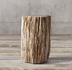 RH's Petrified Wood Stump Mixed Side Table:Sourced from Indonesia, our petrified wood stumps lend rustic beauty to the home.  We've polished the tops but left the sides in their natural state, still bearing the cracks, holes, nicks and knots that celebrate each table's one-of-a-kind character.