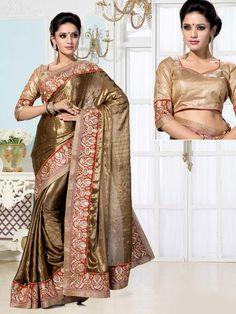 Graceful golden beige color shimmer georgette saree with resham, zari work. Item Code: SUM2094 http://www.bharatplaza.com/new-arrivals/sarees.html