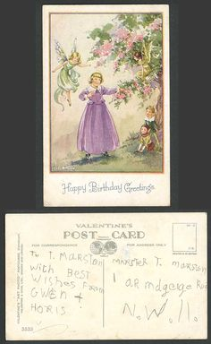 RENE CLOKE Old Postcard Fairy Fairies Elves Elf & Girl, Happy Birthday Greetings | eBay