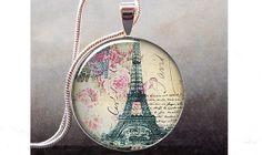Springtime in Paris pendant, Paris necklace resin pendant, Paris jewelry, Eiffel Tower charm. $8.95, via Etsy.