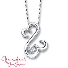 Open Hearts Rhythm Diamond Accent Sterling Silver Necklace
