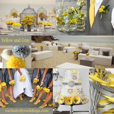 Yellow and Gray Wedding Colors- i like the ribbon thingys in the corner