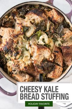 Turn stuffing on its head with this scrumptious Kale and Gruyère Bread Stuffing Recipe. this stuffing recipe is perfect for the holidays! Best Thanksgiving Recipes, Holiday Recipes, Great Recipes, Vegetarian Thanksgiving, Top Recipes, Winter Recipes, Amazing Recipes, Christmas Recipes, Lunch Recipes