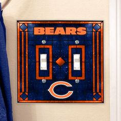 Chicago Bears Art-Glass Double Switch Plate Cover - $11.99